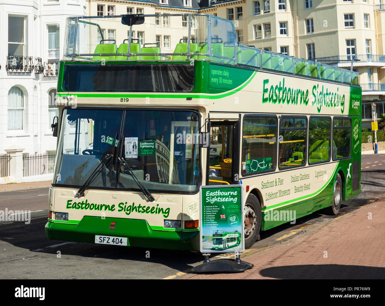 Eastbourne Sightseeing bus. - Stock Image