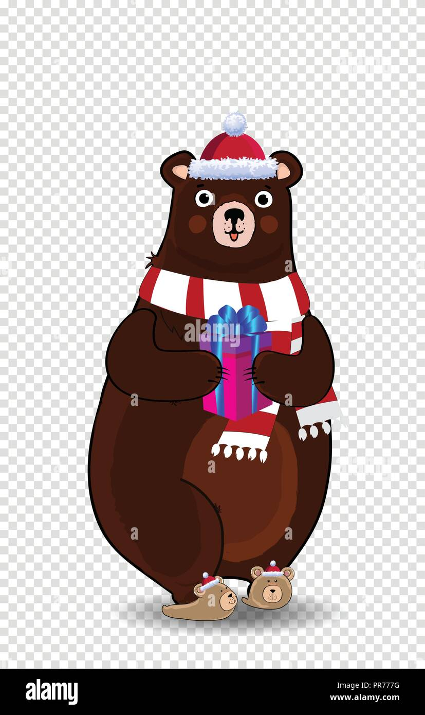 Christmas Hat Cartoon Transparent.Vector Illustration Of Cute Cartoon Bear Character In Red