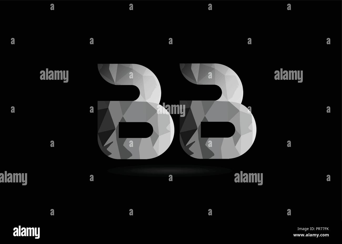 Black And White Alphabet Letter Bb B B Logo Combination Design