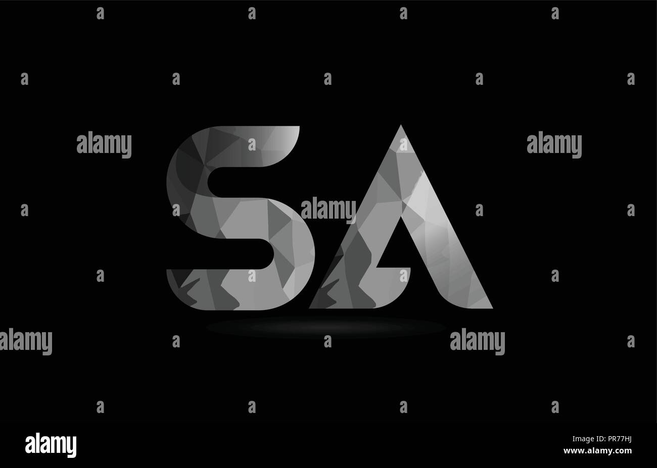 black and white alphabet letter sa s a logo combination design suitable for a company or business Stock Vector