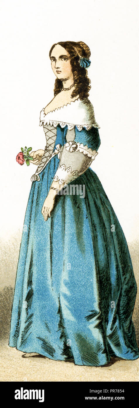 The Figure represented here is a French lady of the court  in the 17th century, specifically between 1600 and 1670. The illustration dates to 1882. - Stock Image