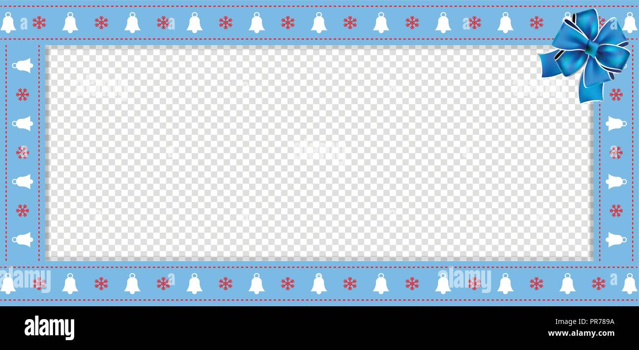 cute christmas or new year rectangle banner border frame with bells and snowflakes pattern and festive blue ribbon on transparent background vector