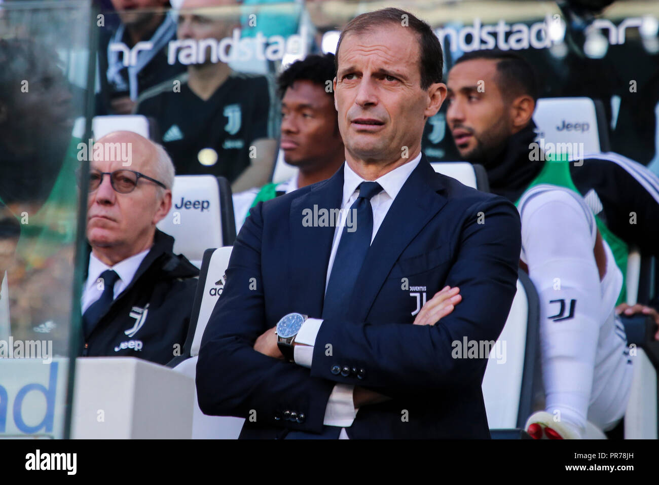 Torino , Piemonte , ITALY: 2018-09-29-  Italian Serie A football match Juventus - Napoli at the Allianz stadium in photo Coach Massimiliano Allegri (A Stock Photo