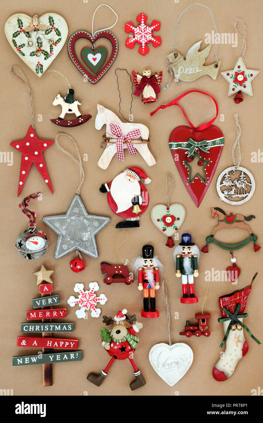 Old Fashioned Retro Christmas Tree Decorations Made From