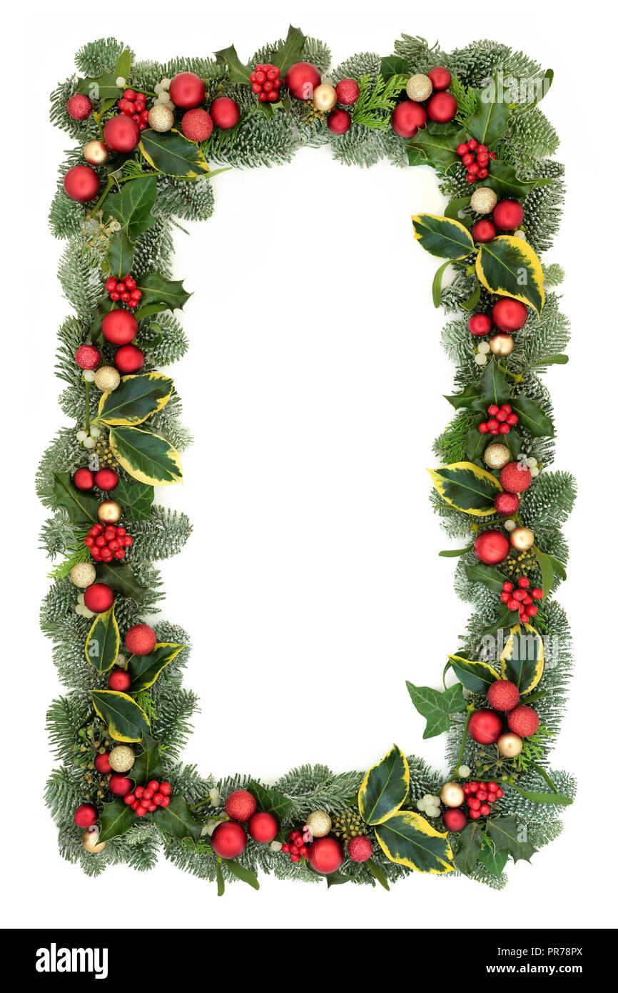 christmas background border with red and gold bauble decorations
