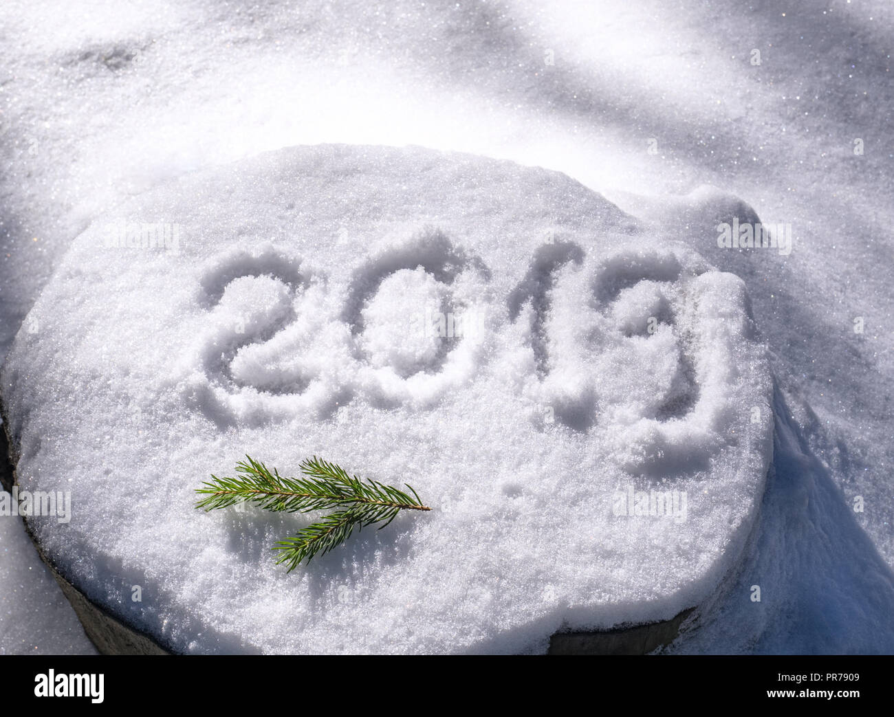 Inscription 2019 On The Snow Symbol Of New Year Stock Photo