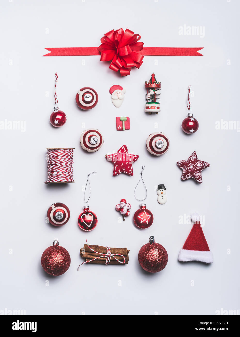 christmas ornaments flat lay composition on white background top
