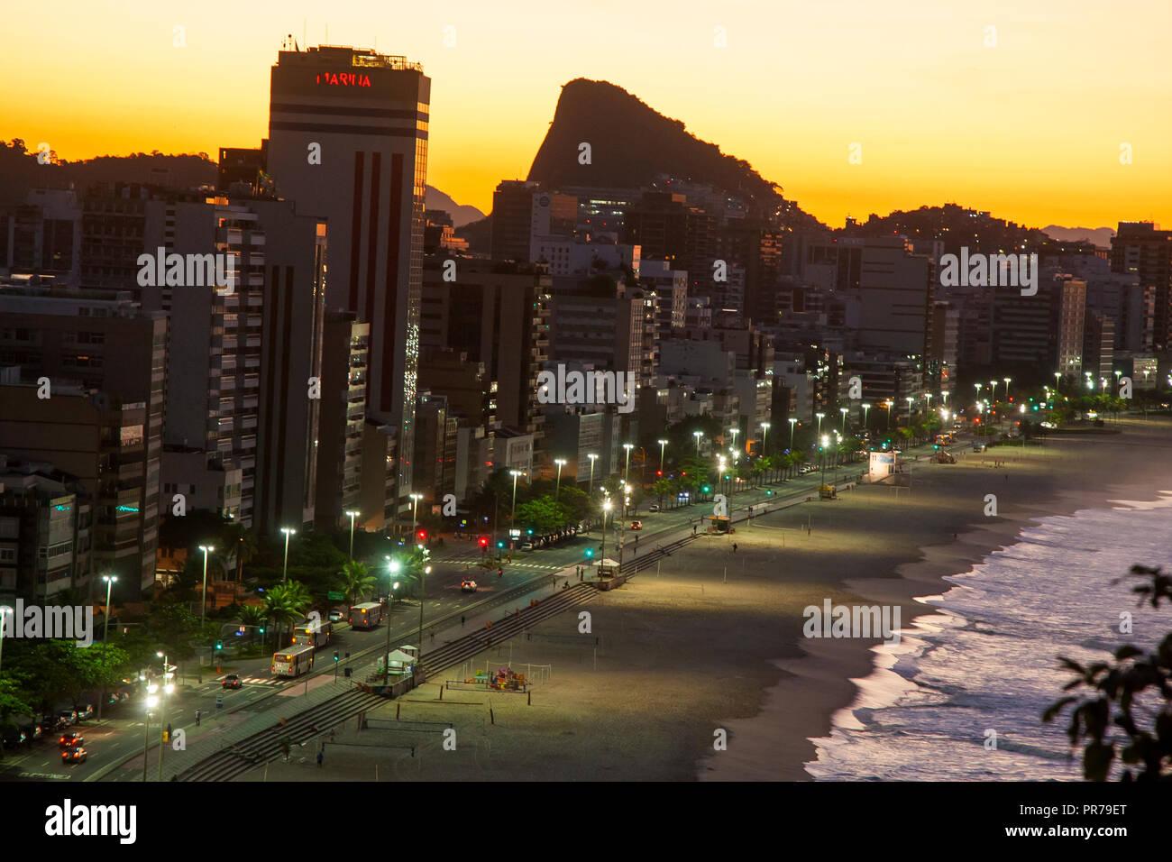 Leblon beach at dawn, Rio de Janeiro, Brazil - Stock Image
