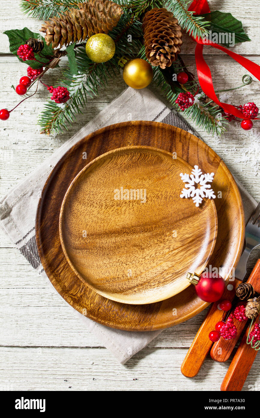 Festive Table Setting For Holiday Christmas Decoration Plate And Cutlery On Festive Table Christmas Background Top View With Copy Space Stock Photo Alamy