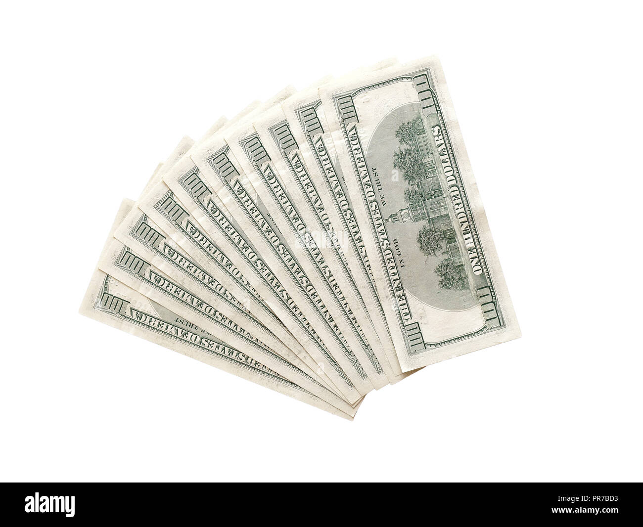 Fan 100 usa or us dollars back top view isolated - Stock Image