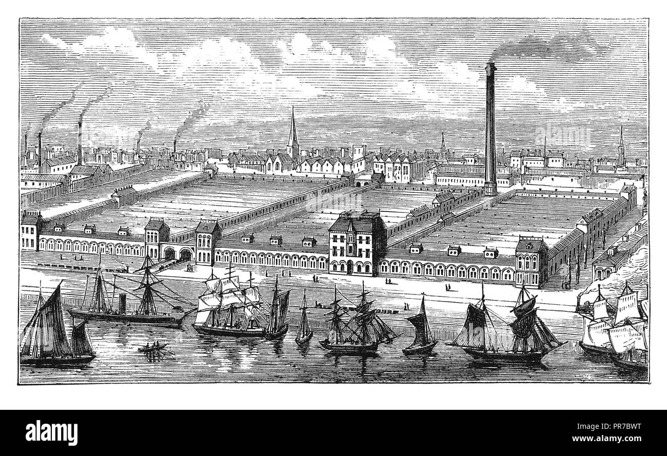19th century illustration of flax and jute mills in Barrow-in-Furness, Cumbria, England. Published in 'The Practical Magazine, an Illustrated Cycloped - Stock Image