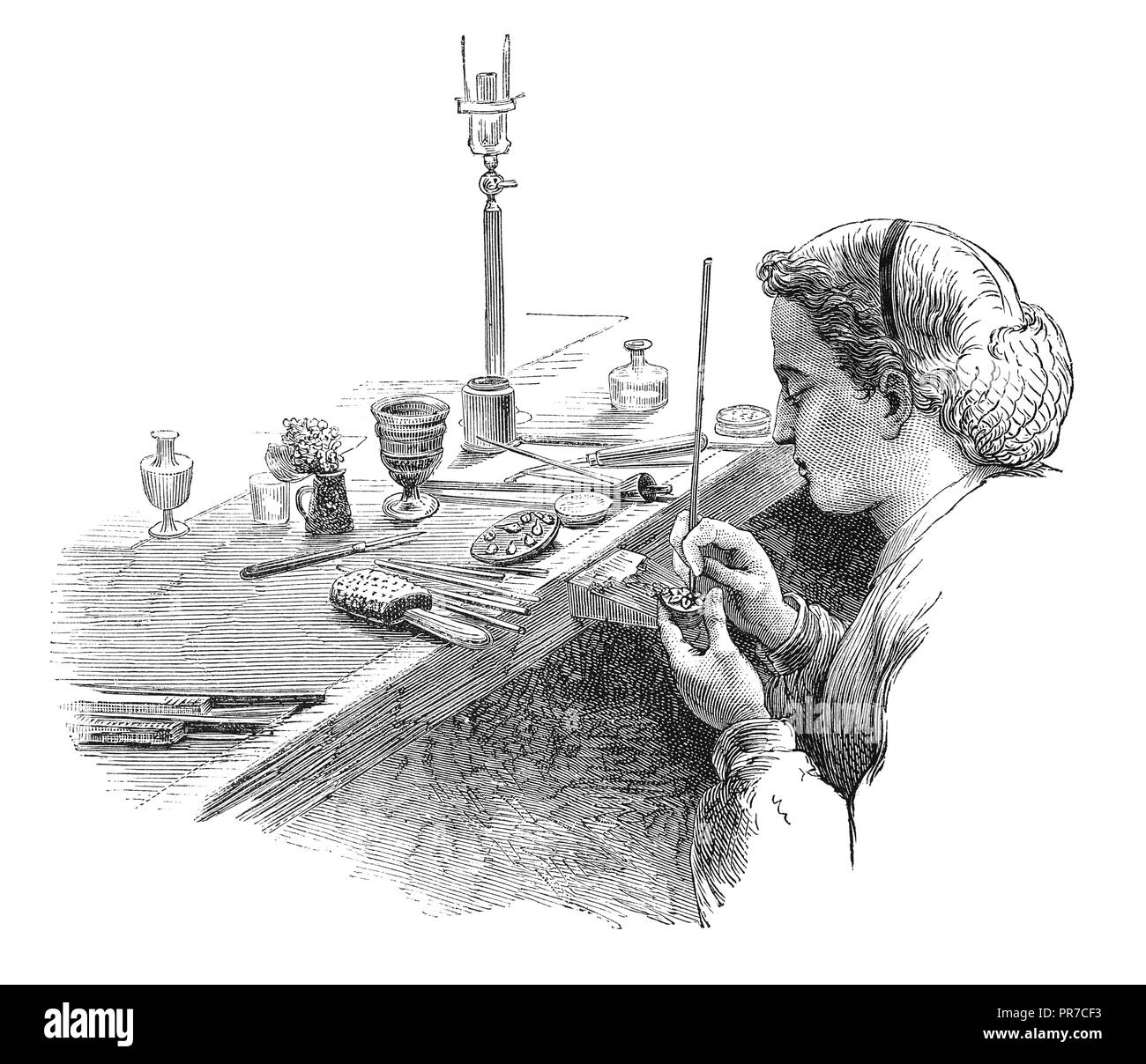 19th century illustration of polishing - frequent operation in jewel making. Published in 'The Practical Magazine, an Illustrated Cyclopedia of Indust - Stock Image