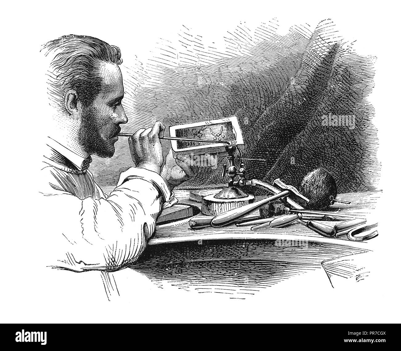 19th century illustration of soldering with the blowpipe - frequent operation in jewel making. Published in 'The Practical Magazine, an Illustrated Cy - Stock Image