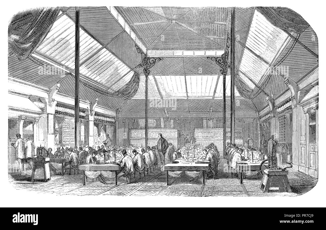 19th century illustration of the central workhop of Rouvenat's jewellery factory (c. 19th century, Paris, France). Published in 'The Practical Magazin - Stock Image