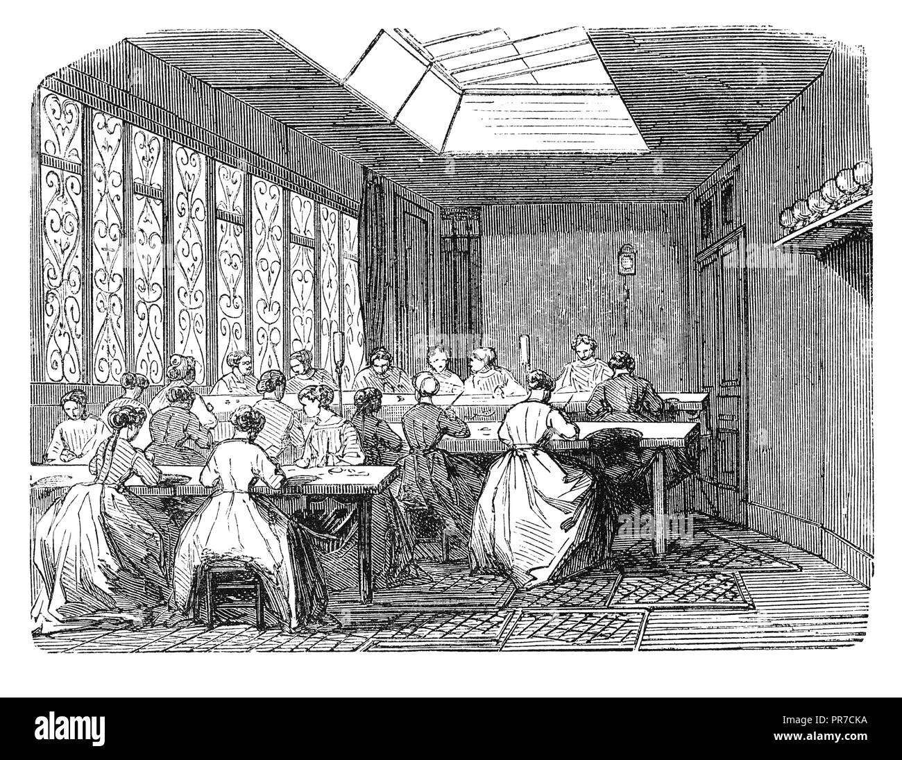 19th century illustration of the polishing workshop in jewel industry. Published in 'The Practical Magazine, an Illustrated Cyclopedia of Industrial N - Stock Image