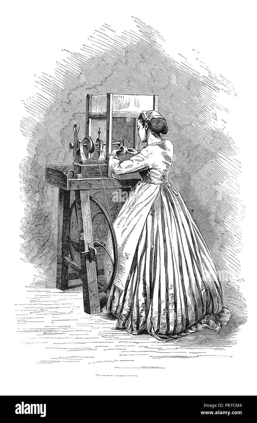 19th century illustration of scratch brushing, operation in jewel processing. Published in 'The Practical Magazine, an Illustrated Cyclopedia of Indus - Stock Image