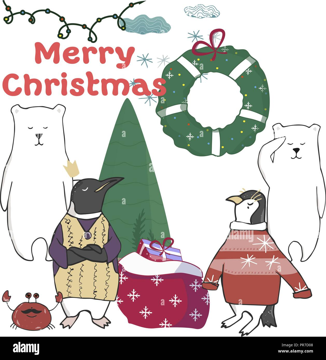 funny and cute penguins christmas tree merry christmas and happy new year card christmas card in cartoon style vector illustration