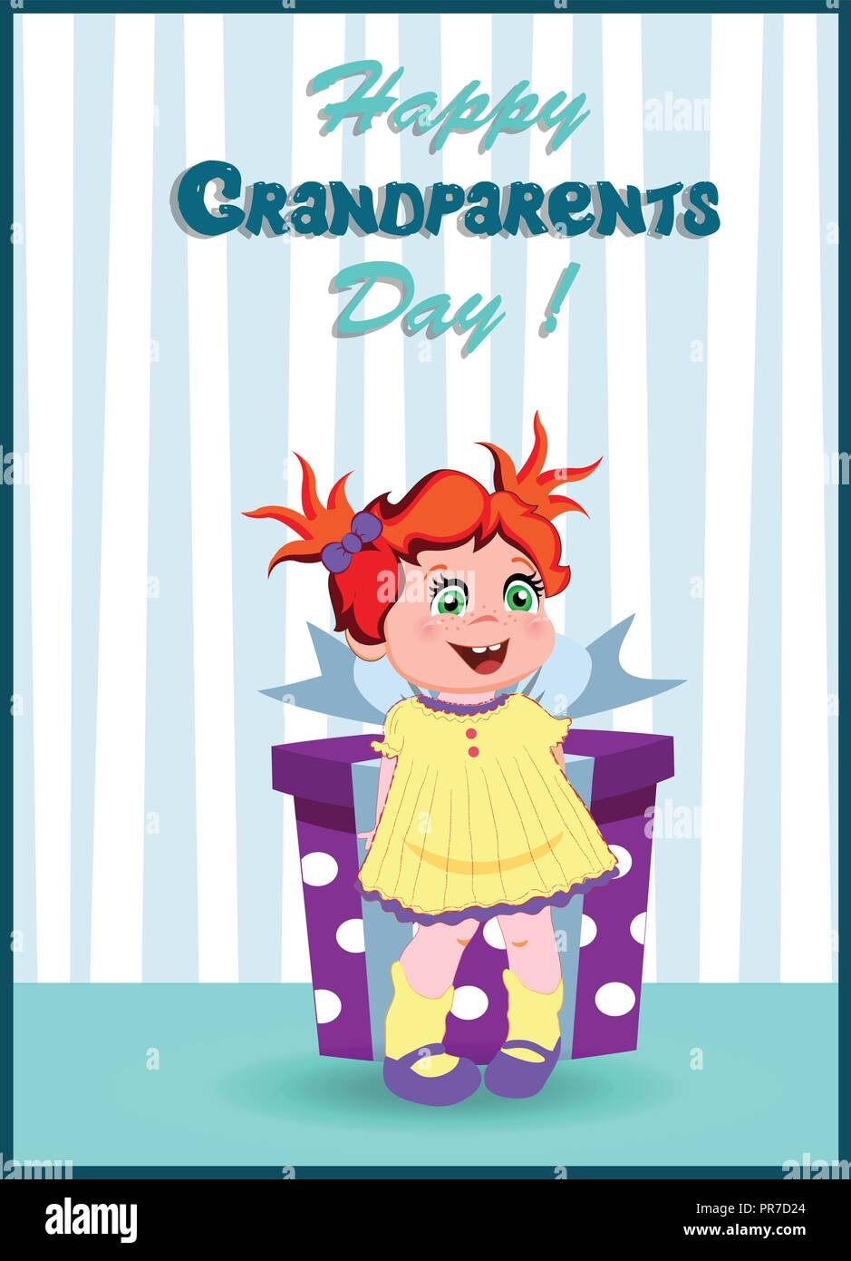 Happy grandparents day greeting card with cute cartoon little girl happy grandparents day greeting card with cute cartoon little girl character with ginger hair wearing yellow dress holding big gift box on striped wal m4hsunfo