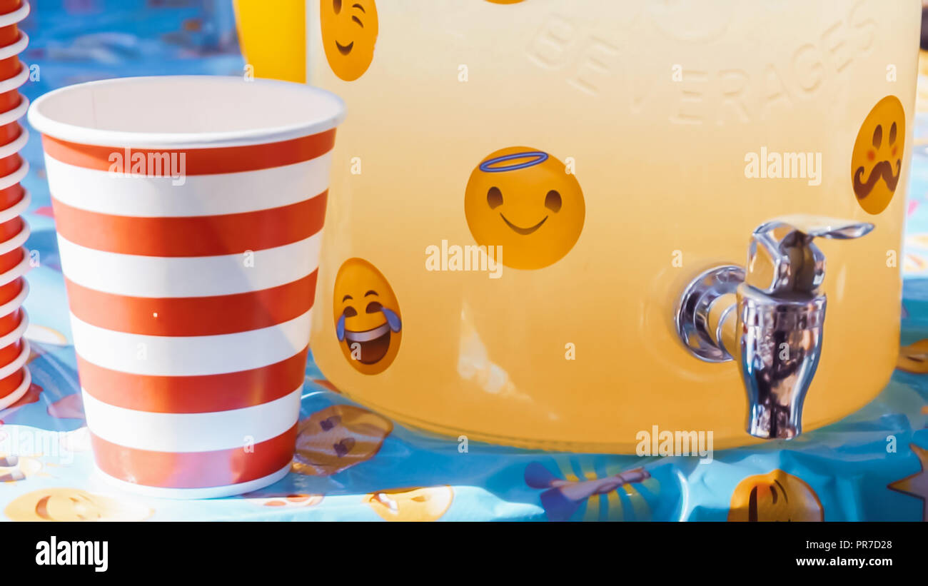 Emoji Themed Little Boy Birthday Party In Urban Park Stock Photo