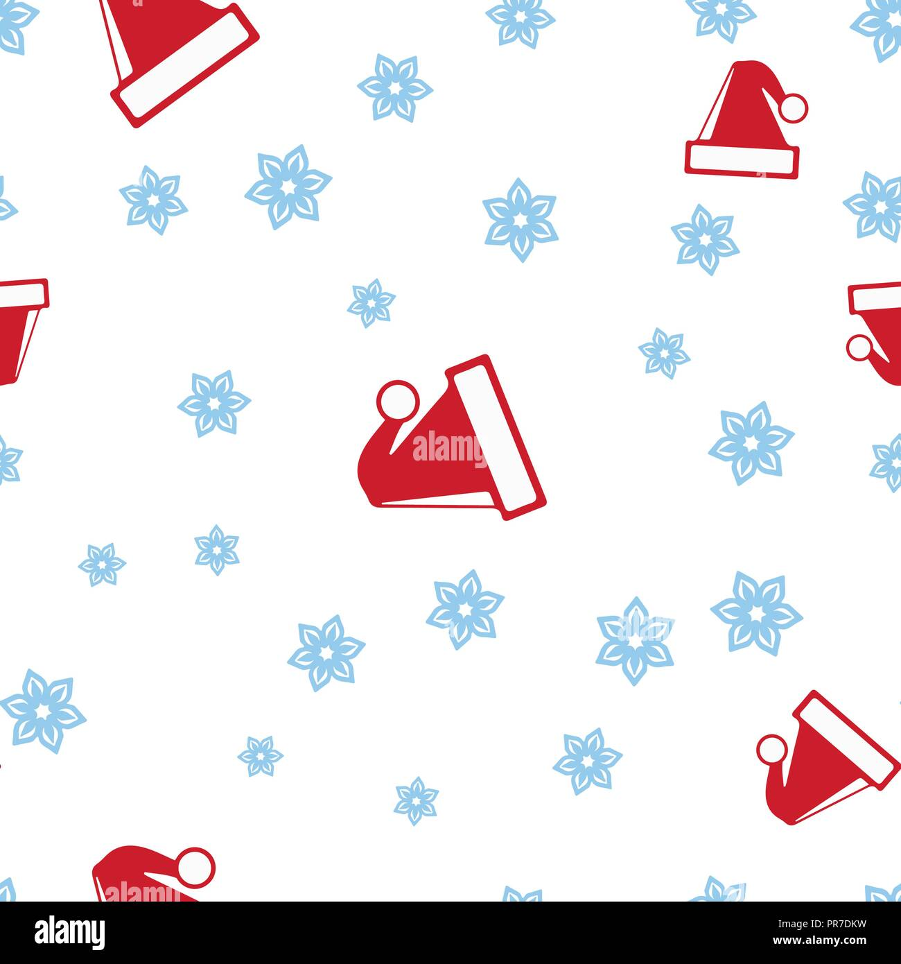 8793328931a Christmas hats Santa and snowflake seamless pattern. Isolated on a white  background. Vector illustration.