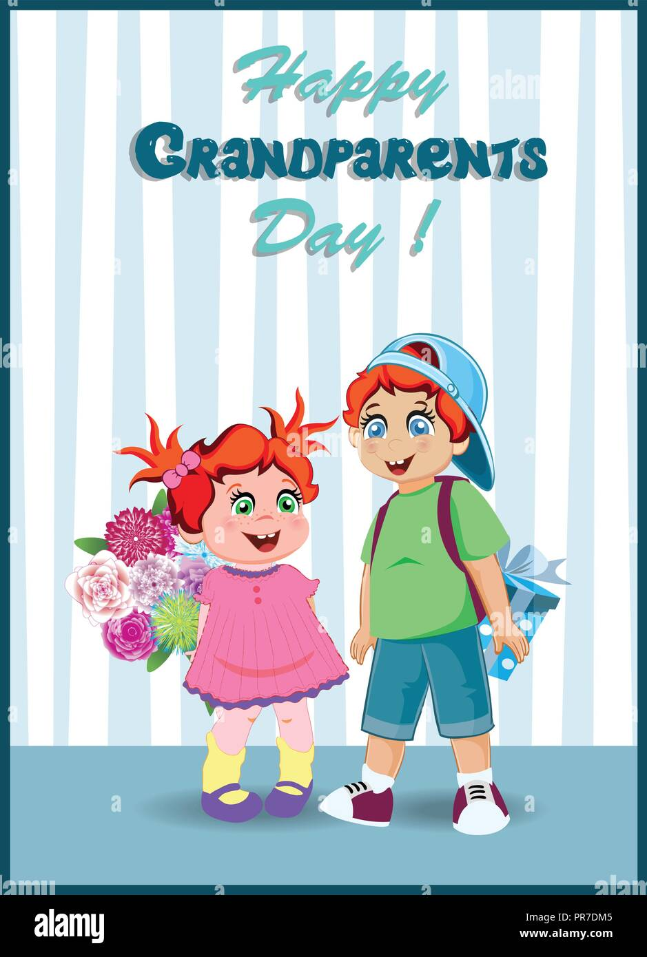 Happy grandparents day greeting card cartoon vector illustration of happy grandparents day greeting card cartoon vector illustration of granddaughter and grandson with bunch of flowers and gift box for grandma and gra m4hsunfo