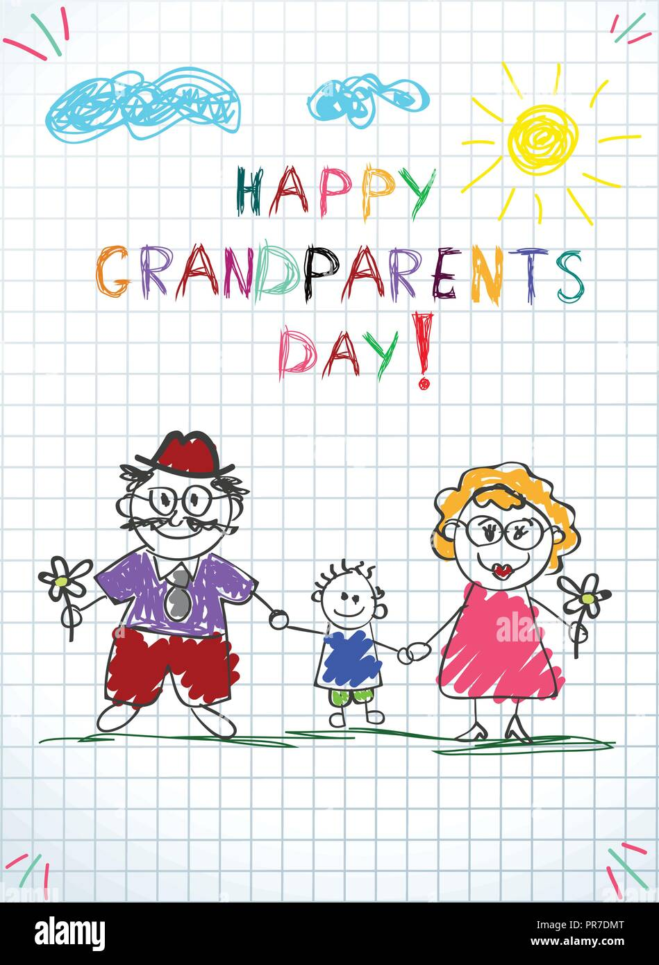 Children colorful hand drawn vector greeting card with grandpa children colorful hand drawn vector greeting card with grandpa grandma and grandson together kids inscription happy grandparents day on notebook gri m4hsunfo