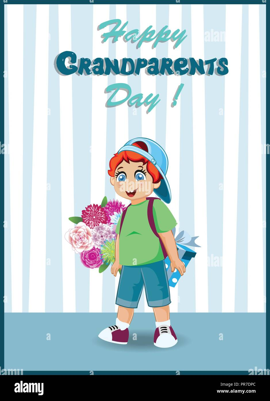 Happy grandparents day greeting card cartoon vector illustration of happy grandparents day greeting card cartoon vector illustration of cute grandson boy with bunch of flowers and gift box for grandma and grandpa in t m4hsunfo