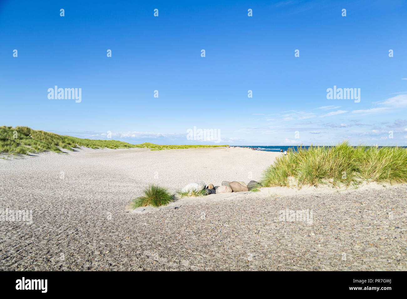 Sunny summer afternoon on a beach in northern Denmark - Stock Image