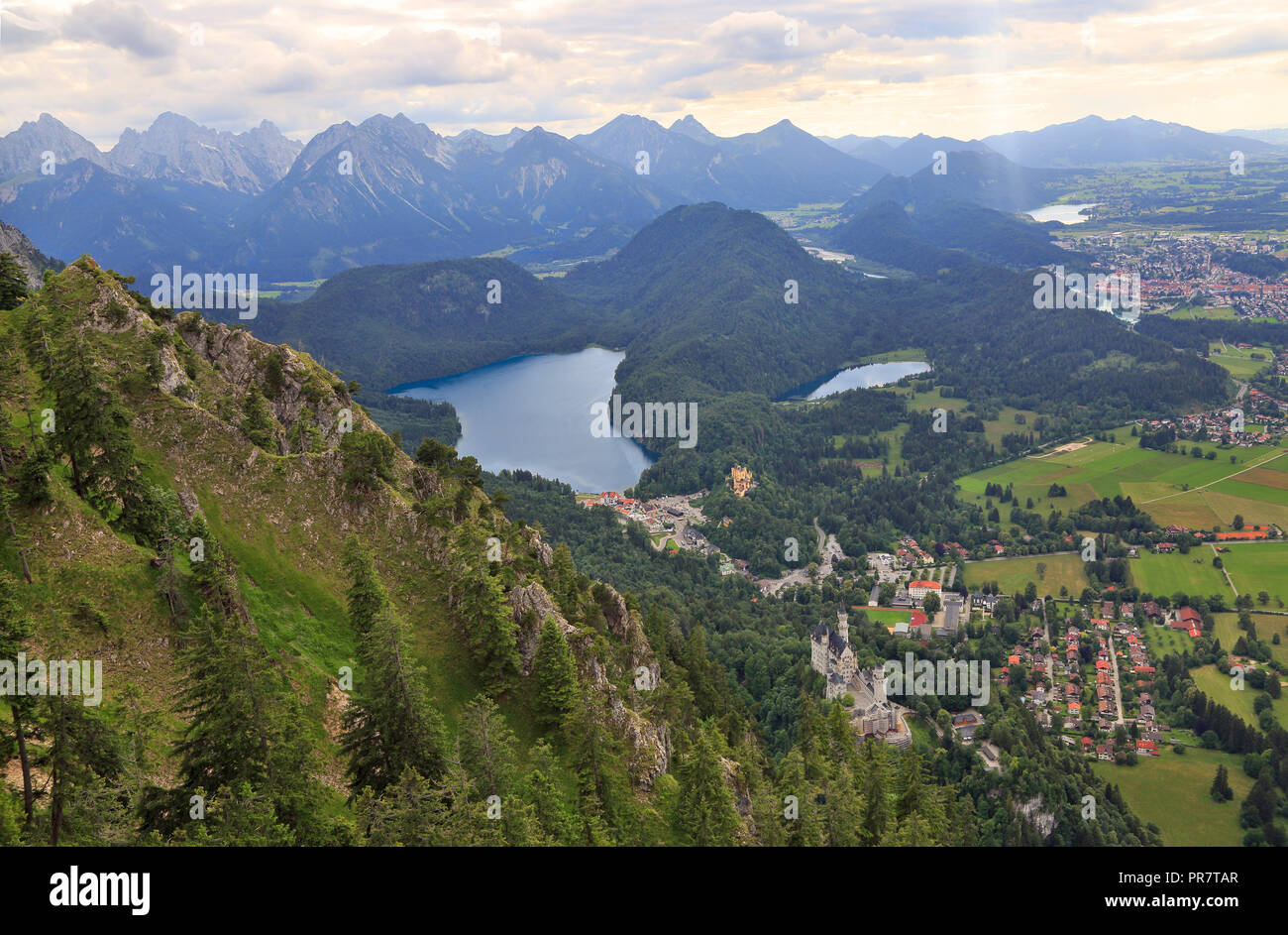 Aerial view of Neuschwanstein Castle, Alpsee Lake, Fussen and Bavarian Alps in Germany - Stock Image
