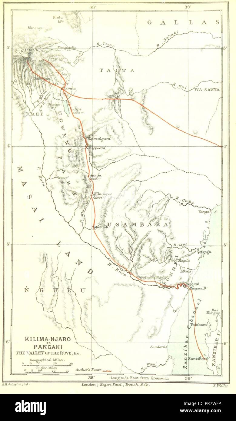page 347 of 'The Kilima-njaro Expedition. A record of scientific exploration in Eastern Equatorial Africa . With . maps and . illustrations by the author' . - Stock Image