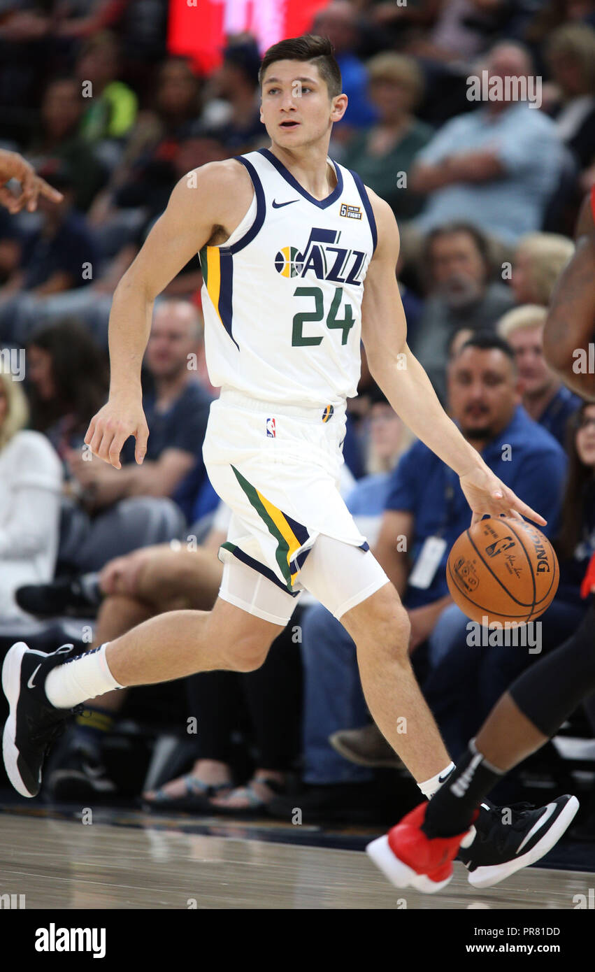 d6759b9b01b Utah Jazz guard Grayson Allen looks to pass the ball during his first NBA  pre-season game as a rookie at Energy Solutions Arena in Salt ...
