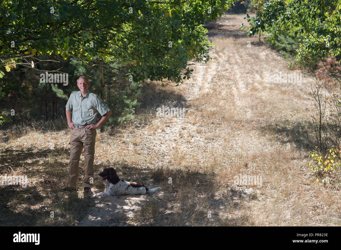 18 September 2018, Saxony-Anhalt, Colbitz: The forestry director Rainer Aumann, head of the Federal Forestry Company Northern Saxony-Anhalt, stands on the military training area Altmark in the Letzlinger Heide near Colbitz. There is a bat quarter which had been set up in a former Soviet bunker as a compensatory measure for the construction of the A14 motorway. Photo: Klaus-Dietmar Gabbert/dpa-Zentralbild/dpa Stock Photo
