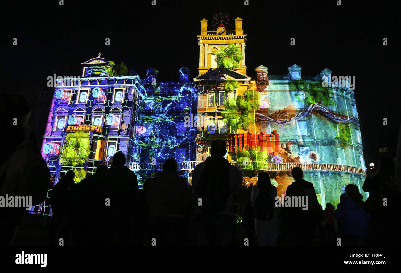 Projection Mapping Uk Bournemouth, UK. 29th Sept, 2018. Silicon Shores, a projection