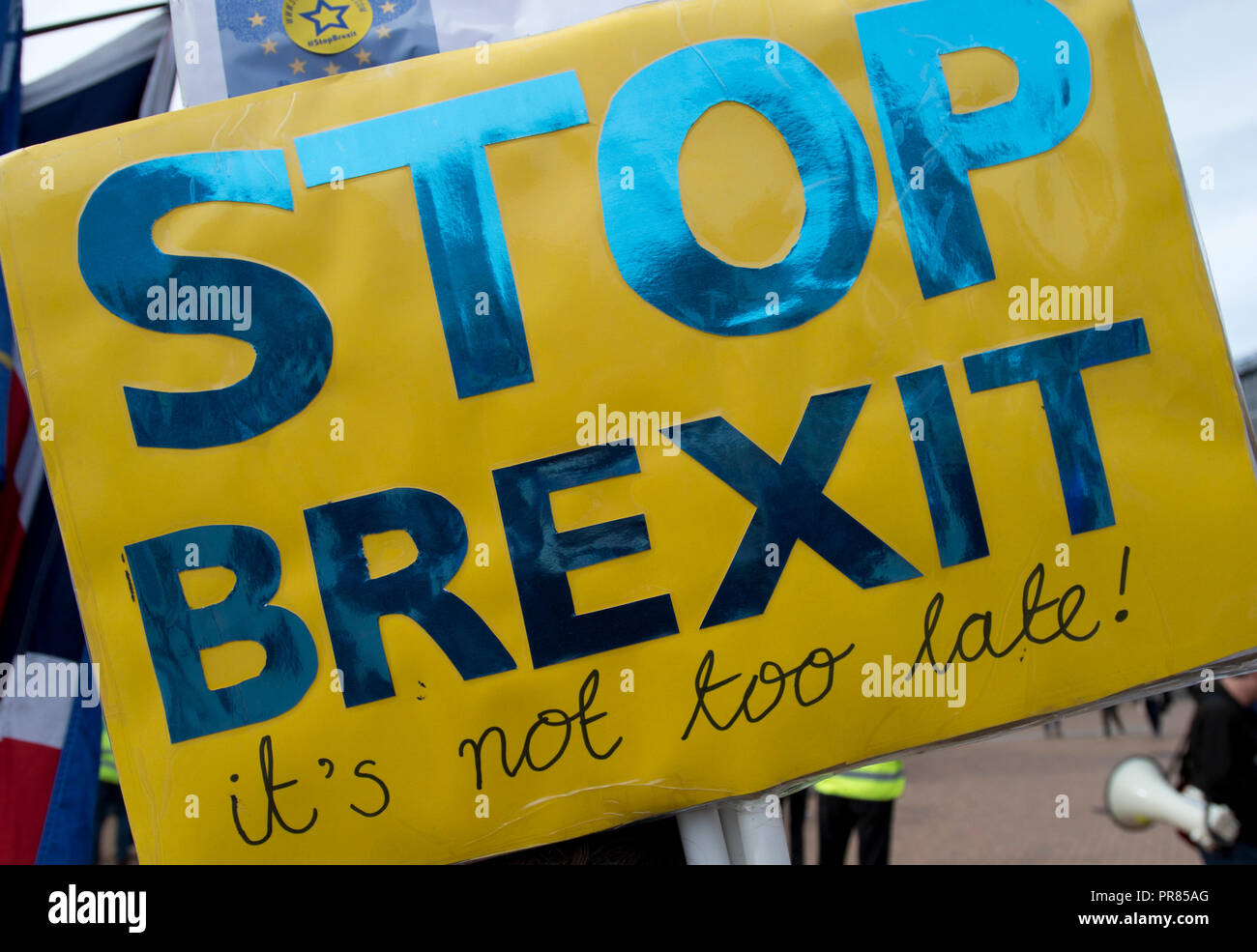 Birmingham, UK. 30th September 2018. A sign reads Stop Brexit at an anti-Brexit rally in Birmingham's Victoria Square near to the Conservative Party Conference in Birmingham. © Russell Hart/Alamy Live News. Stock Photo