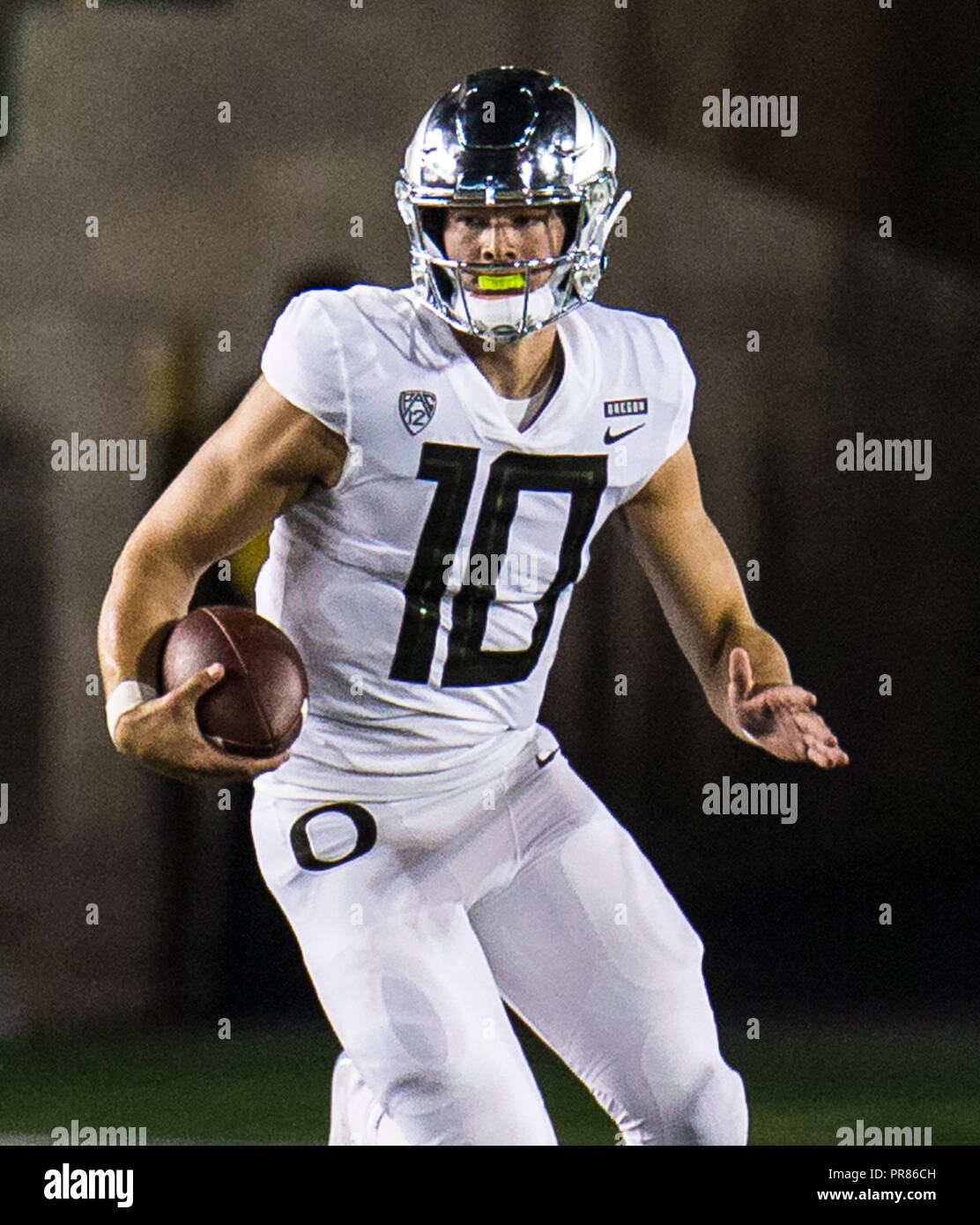 e8329b747 CA U.S.A. Oregon quarterback Justin Herbert (10) game stats 16 - 22 for 225  yards and 2 touchdown rolls to the right looking for a deep ...
