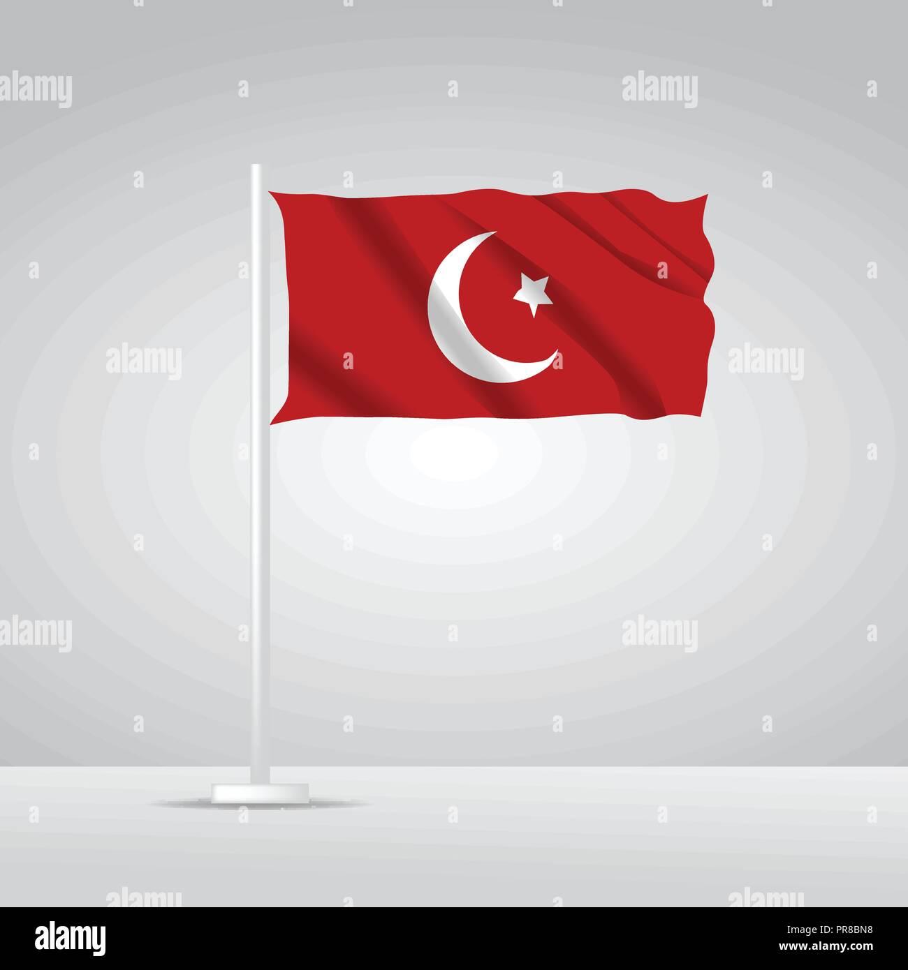 3D Realistic Turkey Flag waving Vector illustration - Stock Vector