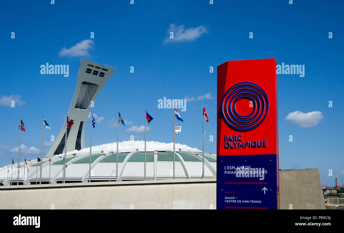 The Montreal Tower over the Olympic Stadium in Montreal, QC, Canada - Stock Image
