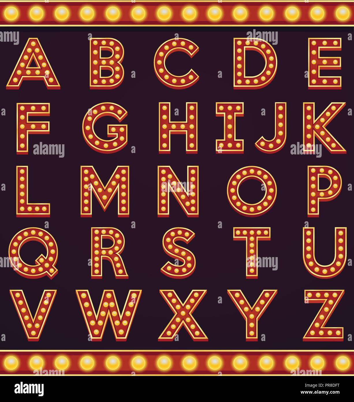 Letter Alphabet Sign Marquee Light Bulb Vintage Carnival Or Circus