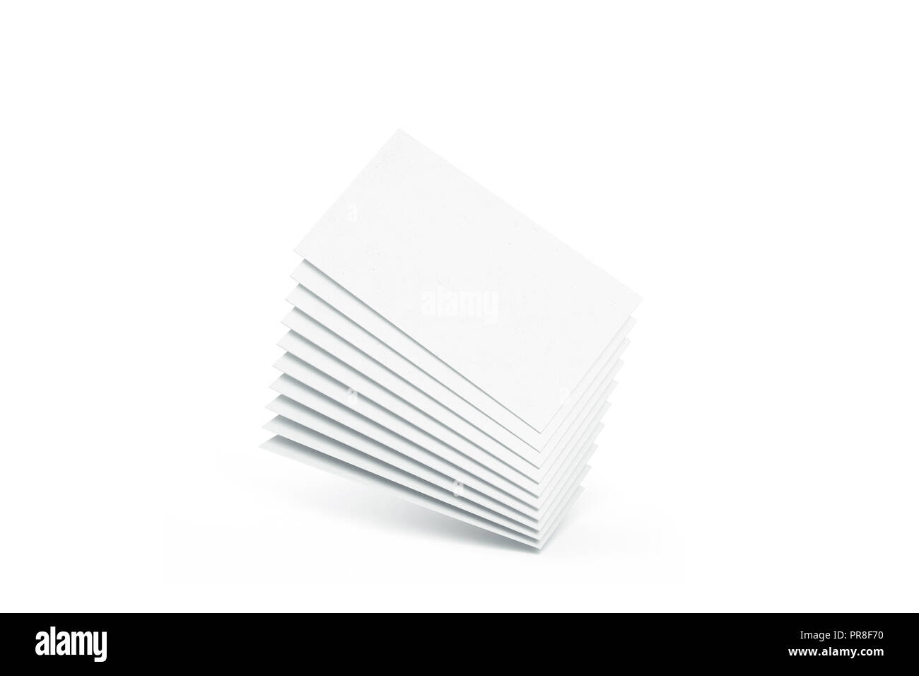 Blank white calling business cards heap mockup, 3d rendering. Empty namecard stack mock up. Clear contact papers pile template. Visiting papersheet for company name, phone number, email address. - Stock Image