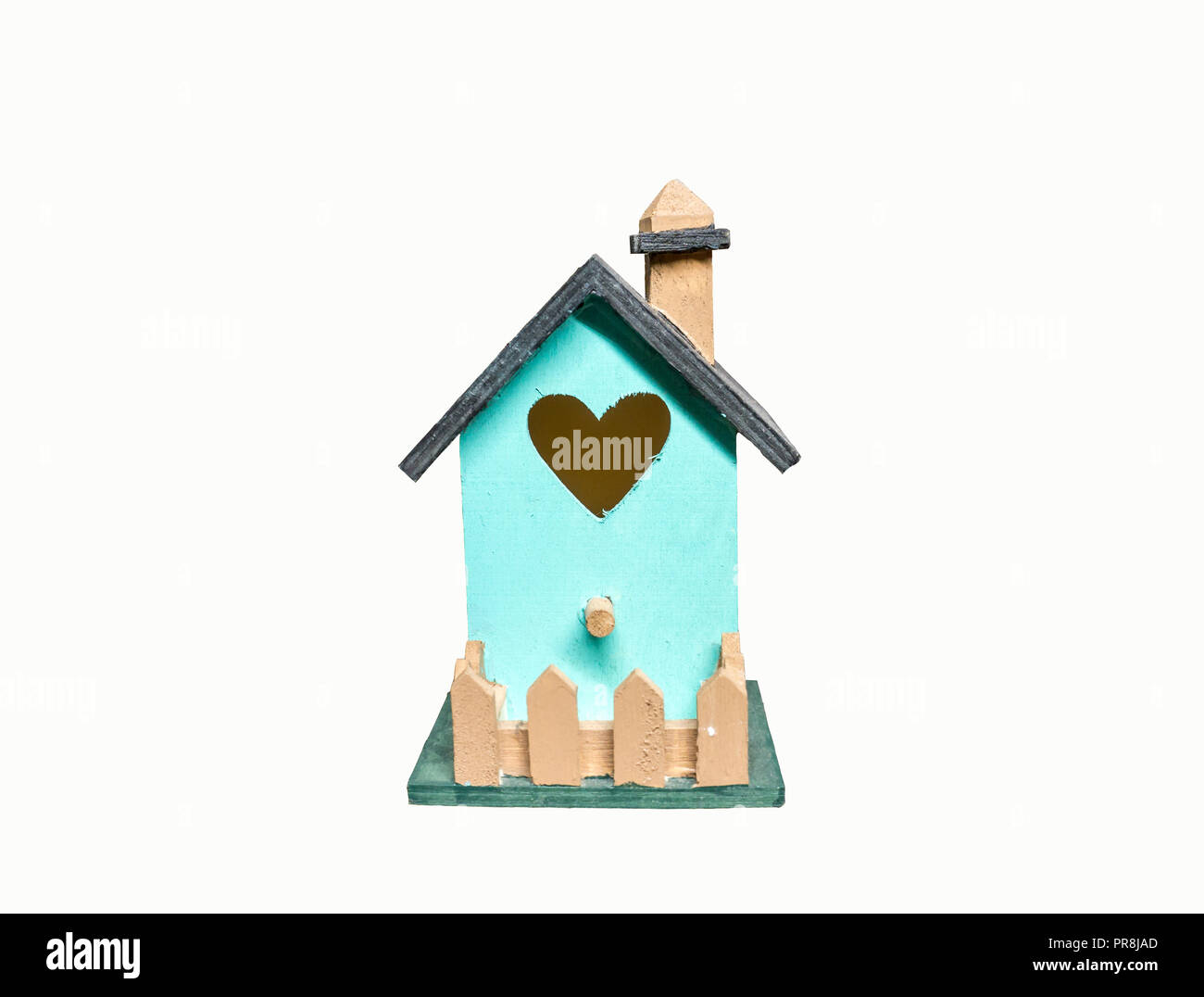 Cute little bird house isolated in white background in blue green color and heart shape window for Valentains day Stock Photo