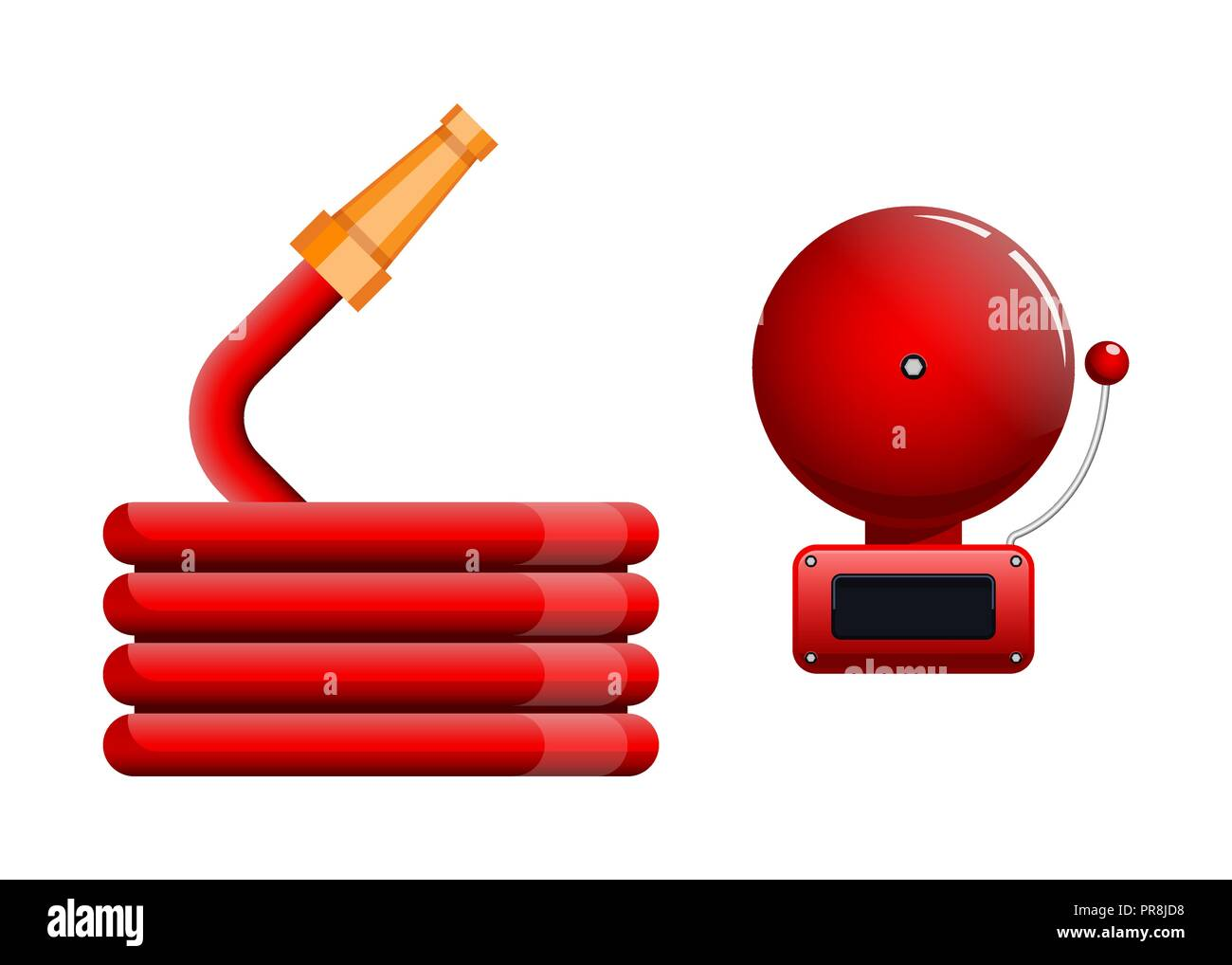 Emergency icon, red fire alarm system and fire hose - Stock Image
