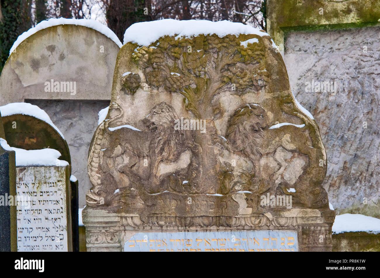 Gravestones at New Jewish Cemetery, Jewish Quarter at Kazimierz district, Krakow, Poland - Stock Image