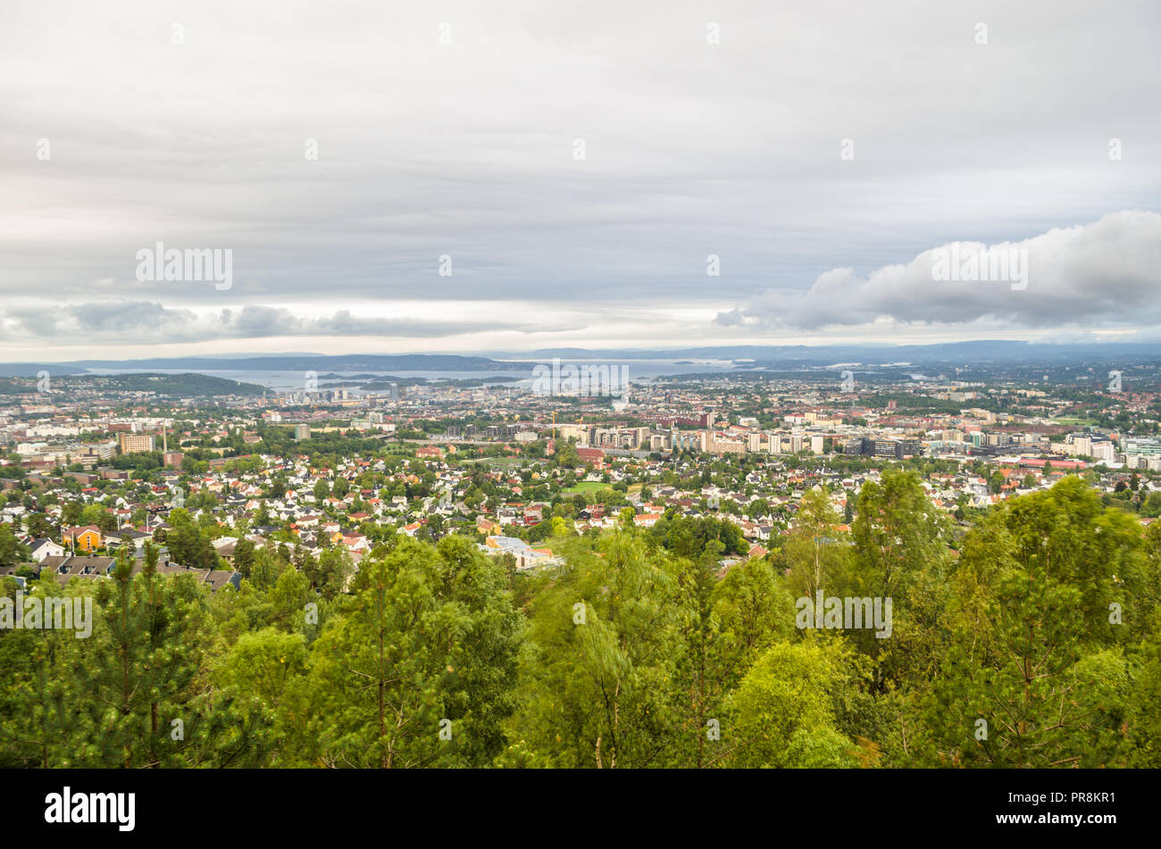 Central part of Oslo, viewed from Grefsenkollen viewpoint. Stock Photo
