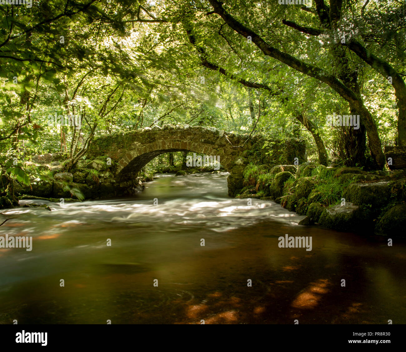 Hisley Bridge across the River Bovey on Dartmoor - Stock Image