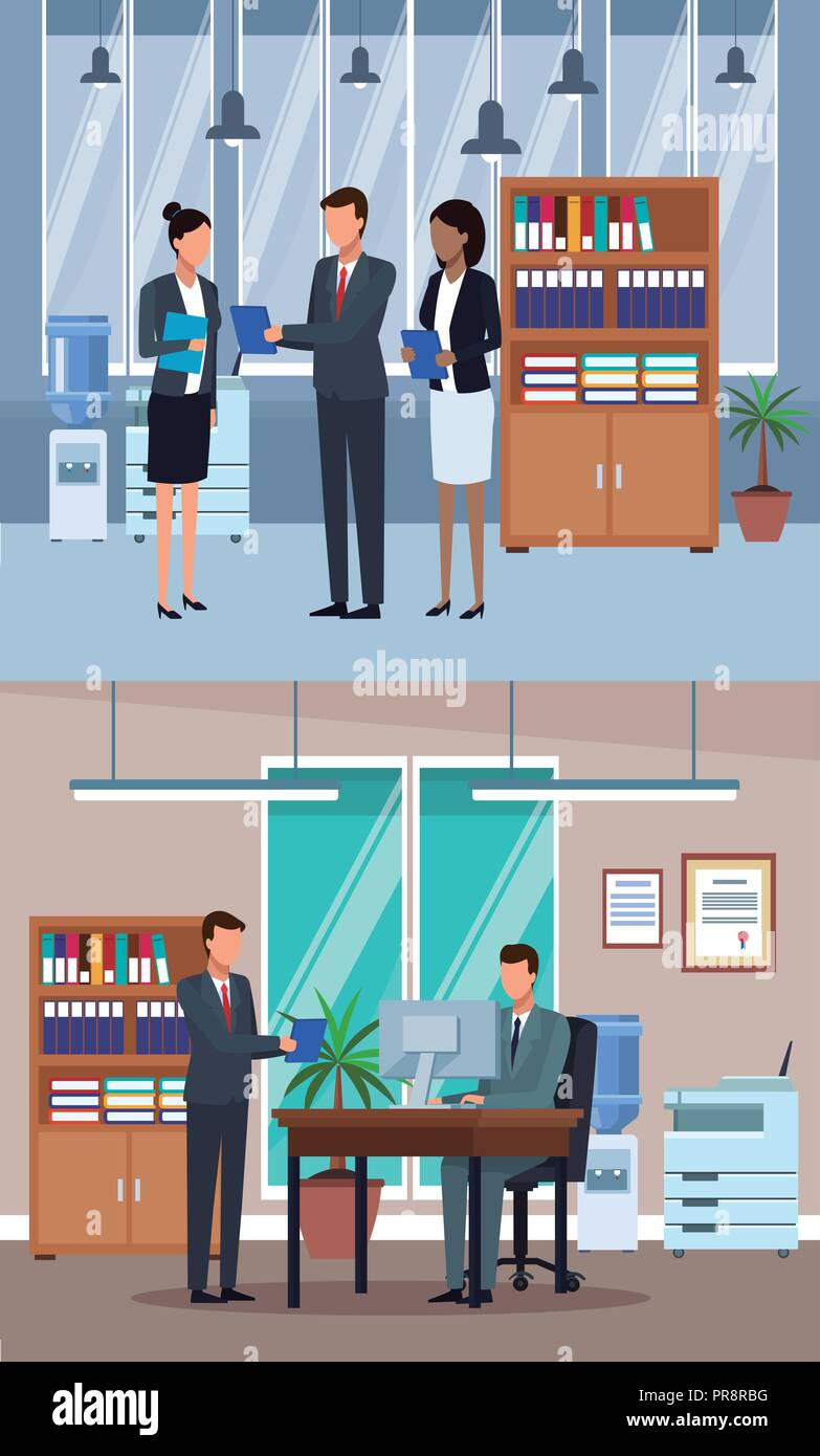Set of Business people in office - Stock Image