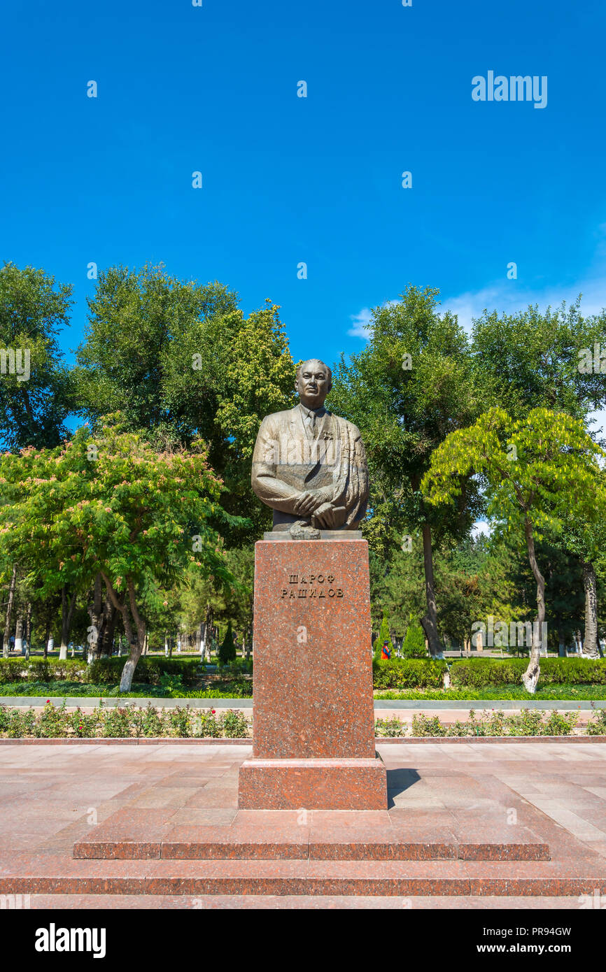 Monument Sharaf Rashidov First Secretary of the Central Committee of the Communist Party of Uzbekistan in Tashkent, Uzbekistan. - Stock Image