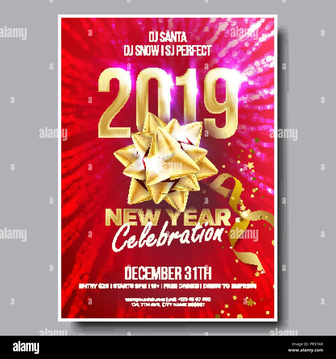 2019 party flyer poster vector happy new year celebration template winter background design illustration