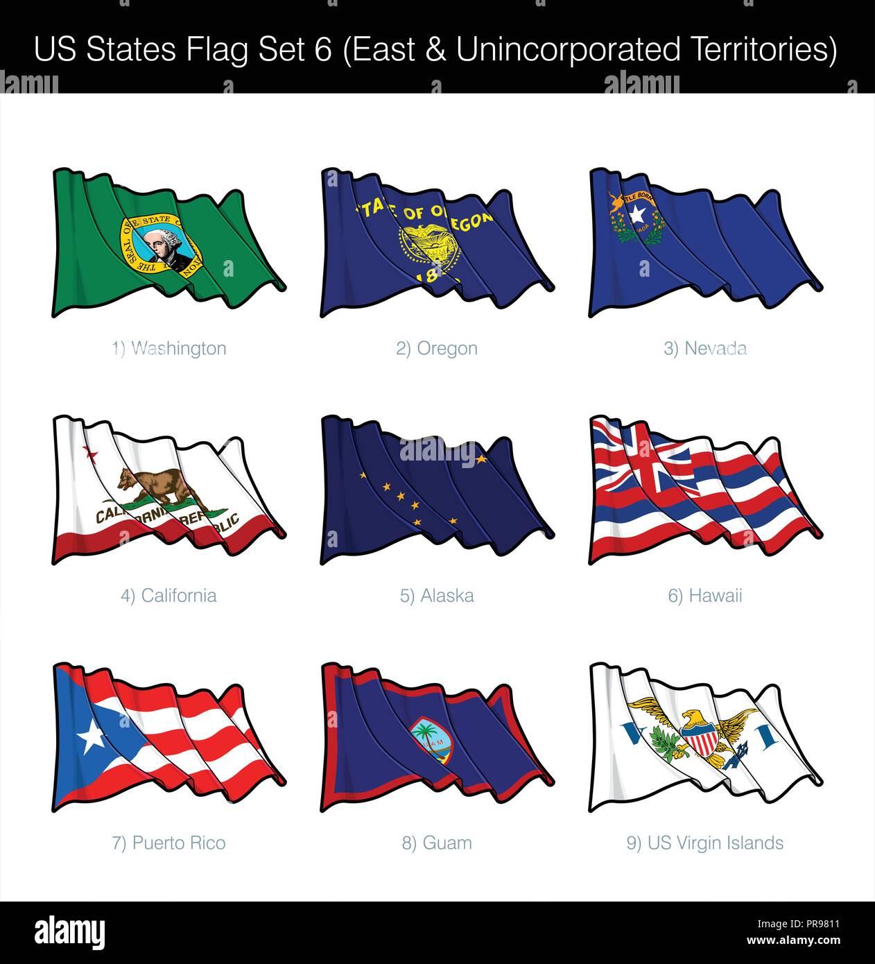 US States Flag Set - East States, Free Associated and Unincorporated Territories. Washington State, Oregon, Nevada, California, Alaska, Hawaii, Puerto - Stock Vector