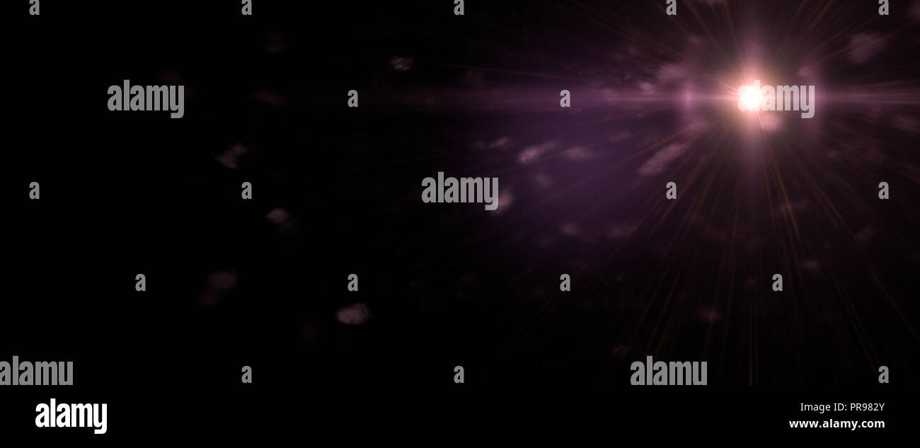 screen lens flare effect overlay texture in shades of violet and purple with bokeh and diagonal anamorphic light streak in front of a black background - Stock Image