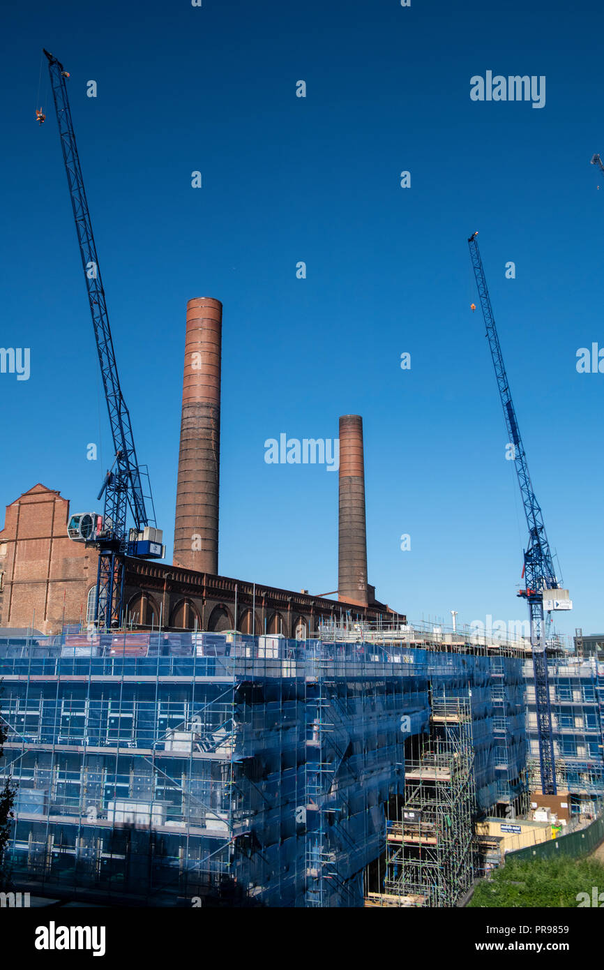 Lots Road power station being redeveloped into executive homes Stock Photo